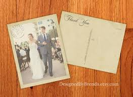 vintage wedding thank you postcards with postmark u0026 photo