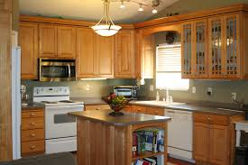 Maple Kitchen Islands Countertops Backsplash L Shaped Brown Stained Maple Wood
