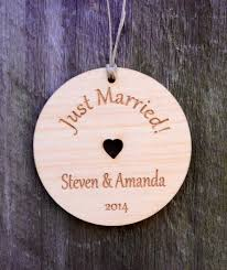 just married personalized wedding ornament our