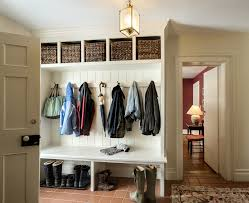 entryway cubbies saving small and narrow entryway spaces with white wood wall built