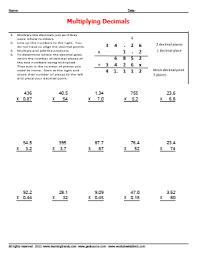 multiplying a decimal by a whole number worksheet worksheets