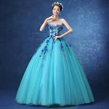 blue dress luxury floral light blue flower vine embroidery princess