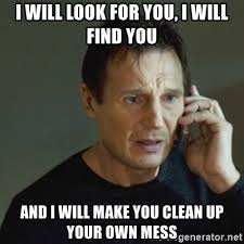 Make Meme With Own Photo - i will look for you i will find you and i will make you clean up