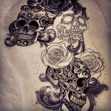memorial sugar skull tattoo print in 2017 real photo pictures