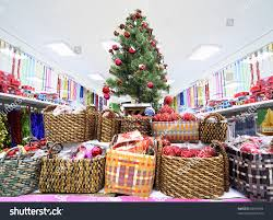 shelves variety christmastree decorations inside large stock photo