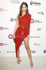 emily ratajkowski 2016 oscar red carpet one sleeve red cocktail