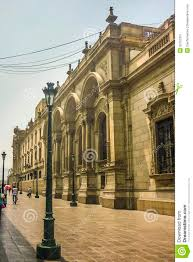 neoclassical style building in plaza mayor in peru editorial