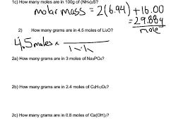 Calculating Molar Mass Worksheet Mole Calculation Worksheet Part 2 Youtube