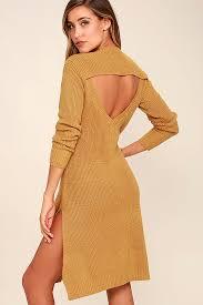 yellow sweater dress somedays lovin honey jam knit dress sweater dress midi dress