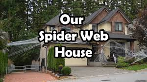 Decorating The House For Halloween Halloween Spider Web House Decorations Bethany G Youtube