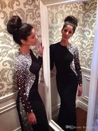 black jersey new long sleeves mermaid evening dresses 2017