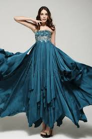 teal blue long crystal prom dress with sheer spaghetti straps teal