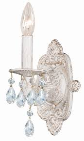 One Light Wall Sconce Antique White Metal Wall Sconce With Hand Polished Crystals
