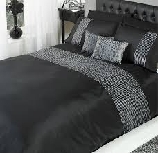 Chic Duvet Covers Changingbedrooms Com Single Size Black Silver Sequin Trim Chic