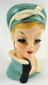 vintage nippon head vase with pig tails and scarf and blonde