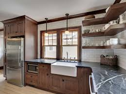 craftsman kitchen with inset cabinets u0026 pendant light in