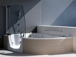 corner rectangle bathtub and walk in shower combo with swinging picture of modern corner tub shower combo with glass door
