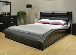 Black Leather Platform Bed Black Leather Modern Platform Bed