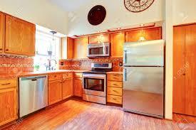 Orange Kitchens Ideas Kitchen Orange Kitchen Appliances And Room With Tile Back Splash