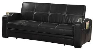 faux soft leather sofa bed sleeper lounger w storage cup holders