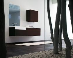 Brown And White Bathroom by Luxury Modern Bathroom With Unique Unframed Mirror Featuring