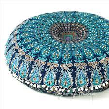 blue decorative floor cushion handmade in india mandala floor