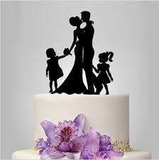 family wedding cake toppers family wedding cake topper with and groom silhouette with