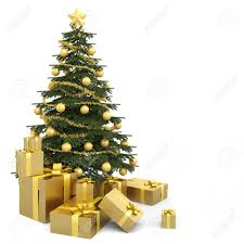 golden decorated christmas tree wirh many presents and isolated