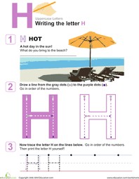 h is for practice writing the letter h worksheet