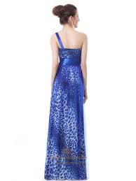 Blue Leopard Print by Royal Blue One Shoulder Leopard Print Prom Dress With Flower Strap