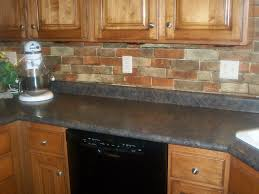 brick backsplash kitchen red brick backsplash for narrow kitchen design with oak wood
