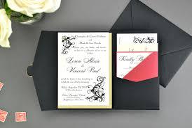 Wedding Invitations With Pockets My Diy Story Elegant Black U0026 Red Pocket Invitation Cards