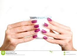 female hands with long nails with manicure hold stock image