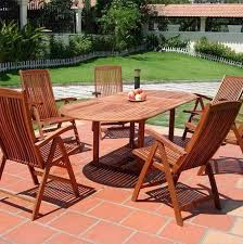 Eucalyptus Patio Furniture Backyard Patio With Eucalyptus Wood Furniture Including Table And