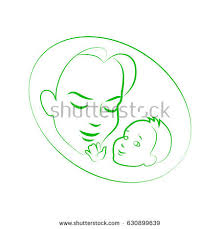 vector illustration sketch mother small baby stock vector