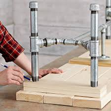 wood and pipe table pipe frame harvest table