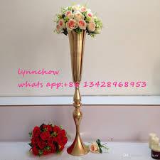 gold flower vase for wedding decoration flower stand metal gold