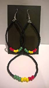 reggae earrings reggae earrings with bracelet handmade diy yellow green