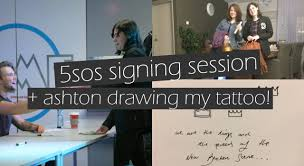 vlog 5sos signing session ashton drew my tattoo youtube