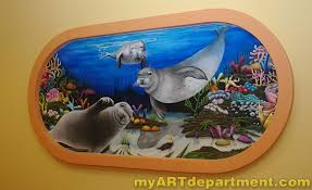undersea wall murals for dentist s office hand painted wall mural undersea scene