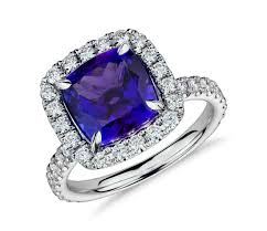 tanzanite engagement ring tanzanite and micropavé halo ring in 18k white gold 4 76