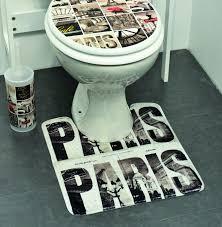 Paris Bathroom Rug Printed Microfiber Bath Toilet Contour Rug Mat Cafe Paris Brown 17