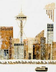 seattle art print mixed media art collage encaustic vintage papers