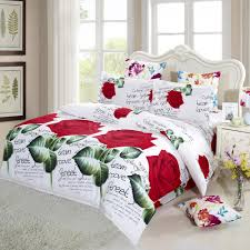 4x 3d red rose printed duvet cover bedding set queen king size