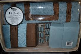 of blue brown fabric shower curtain bath rug towel hotel 17 piece aqua and brown bedding sets bed bath