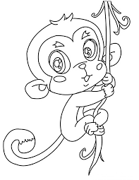 cute monkey coloring pages hanging on tree coloringstar