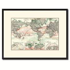 world ocean currents vintage antique map wall art home decor gift