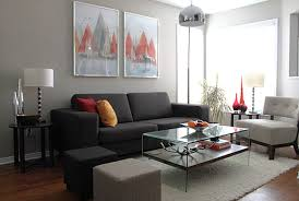 wonderful white open plan ikea living room with black couch as