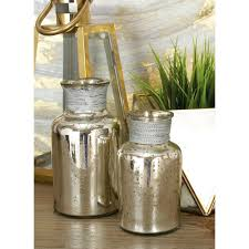 Rustic Metallic Glass Metal Apothecary Jars Set of 3 The
