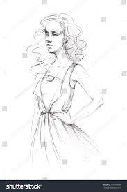 pencil sketch line womens clothing dress stock illustration